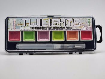 Twilight paints set 5 : Includes 6 pigment rich pearlescent colours plus storage and water brush