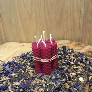 Cerise Beeswax Mini Spell Candle