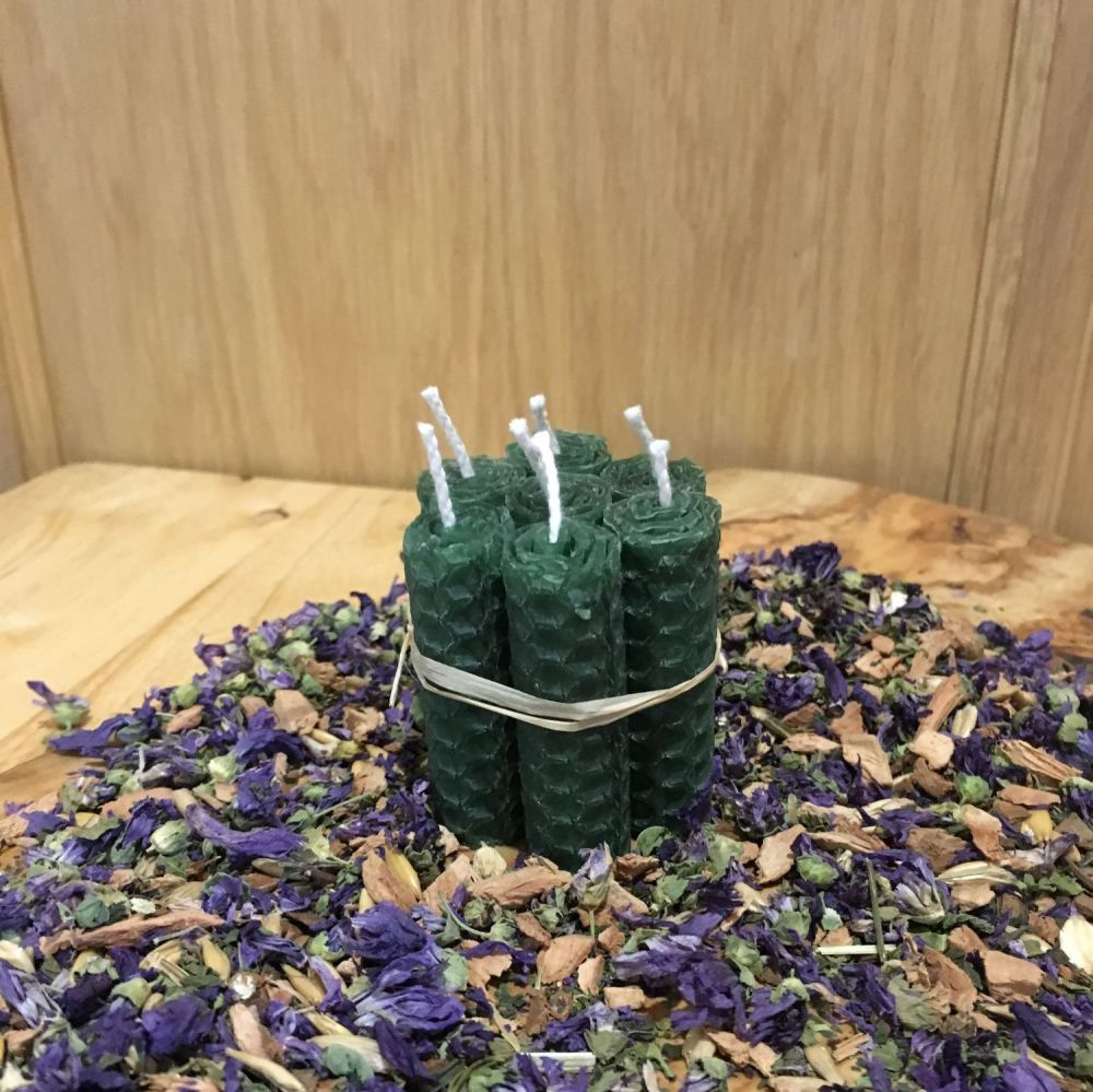 Forest Green Beeswax Mini Spell Candle