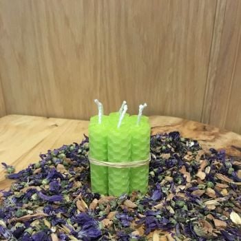 Lime Green Beeswax Mini Spell Candle