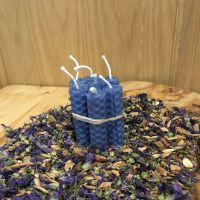 Sky Blue Beeswax Mini Spell Candle