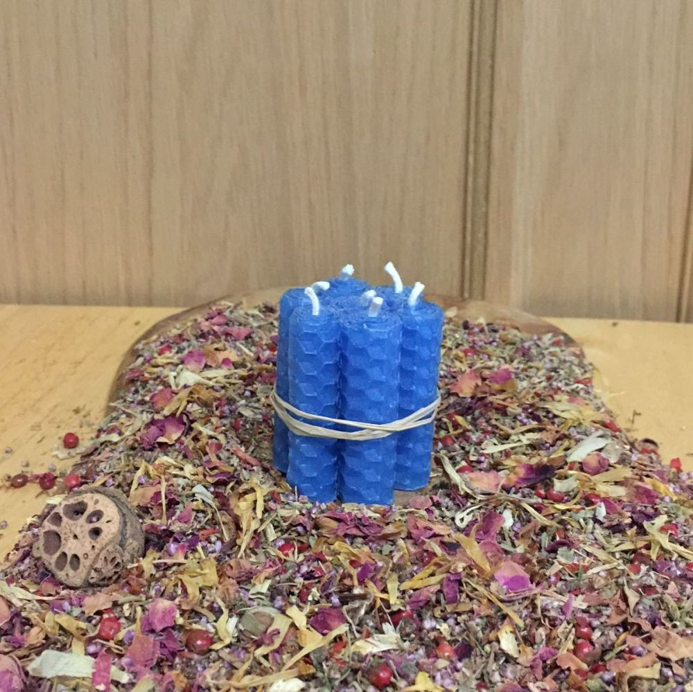 Light Blue Beeswax Mini Spell Candle
