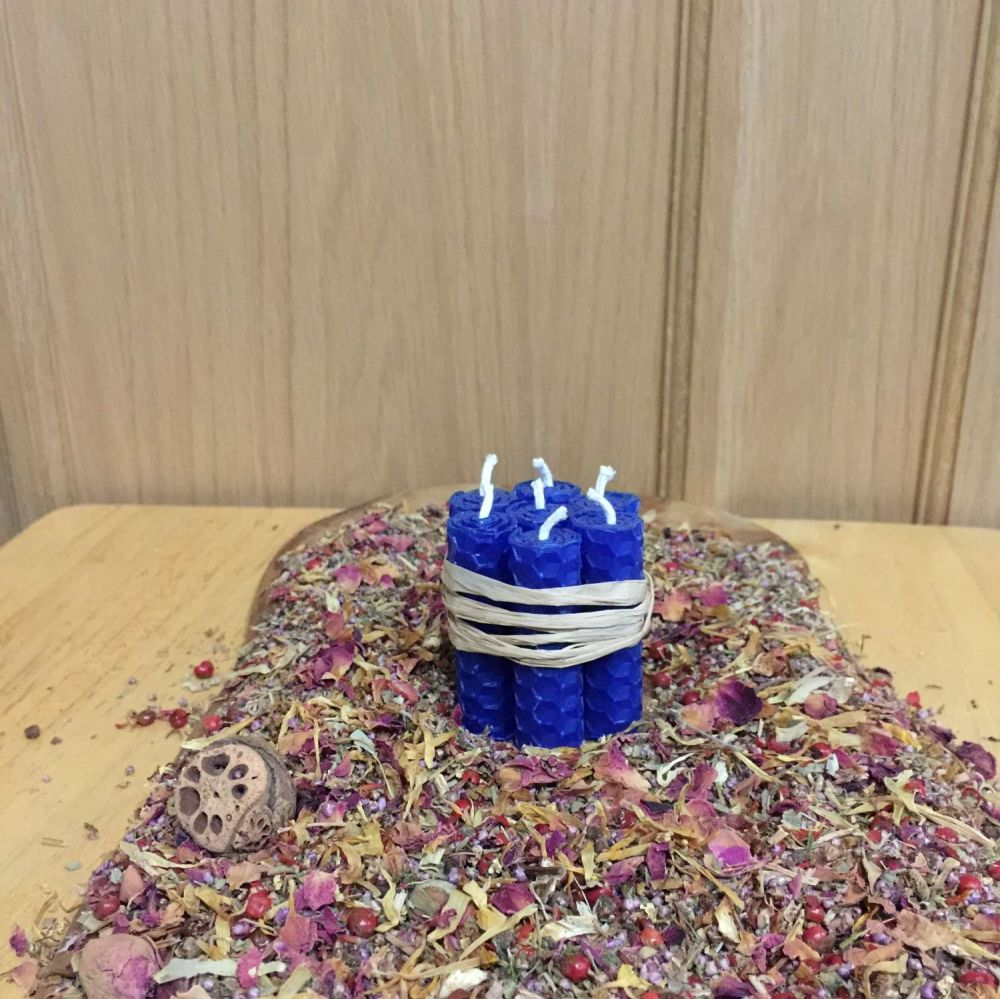 Cobolt Blue Beeswax Mini Spell Candle