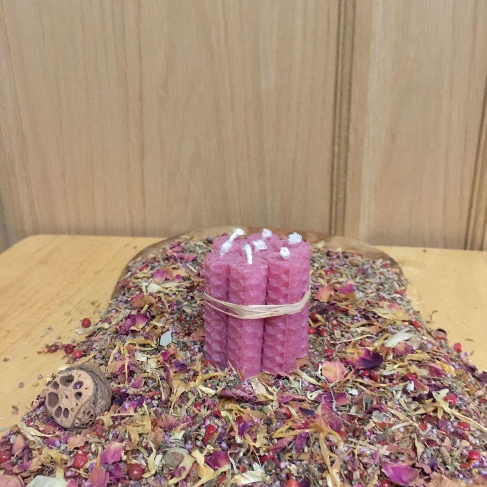 Rubine Beeswax Mini Spell Candle