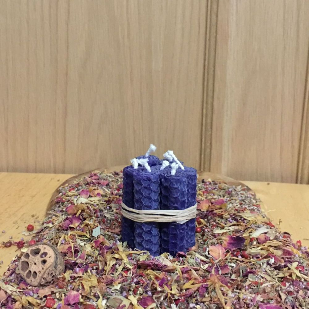 Vivid Purple Beeswax Mini Spell Candle