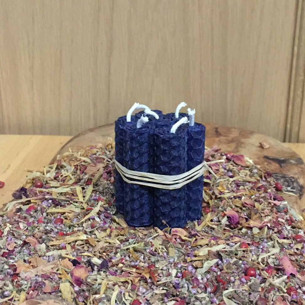 Dark Blue Beeswax Mini Spell Candle