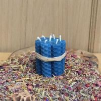 Turquoise Beeswax Mini Spell Candle
