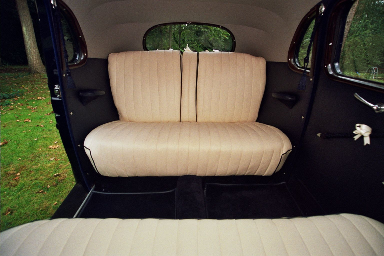 leather interior in classic wedding car