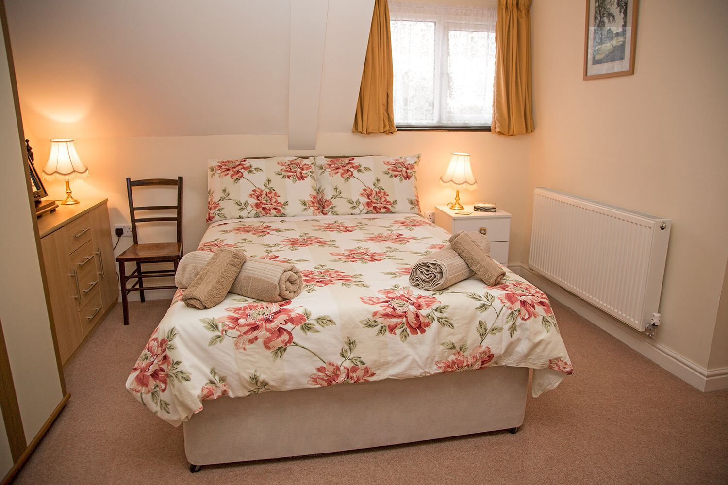 Double bed in The Beeching room