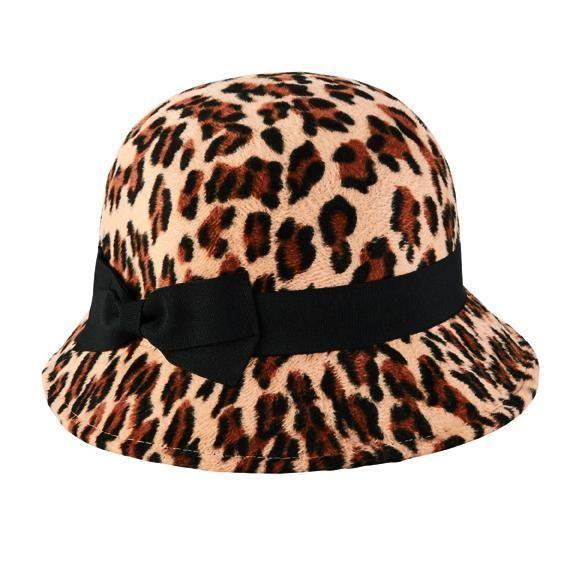 San Diego Hat Company: WOMEN'S FAUX WOOL FELT LEOPARD CLOCHE