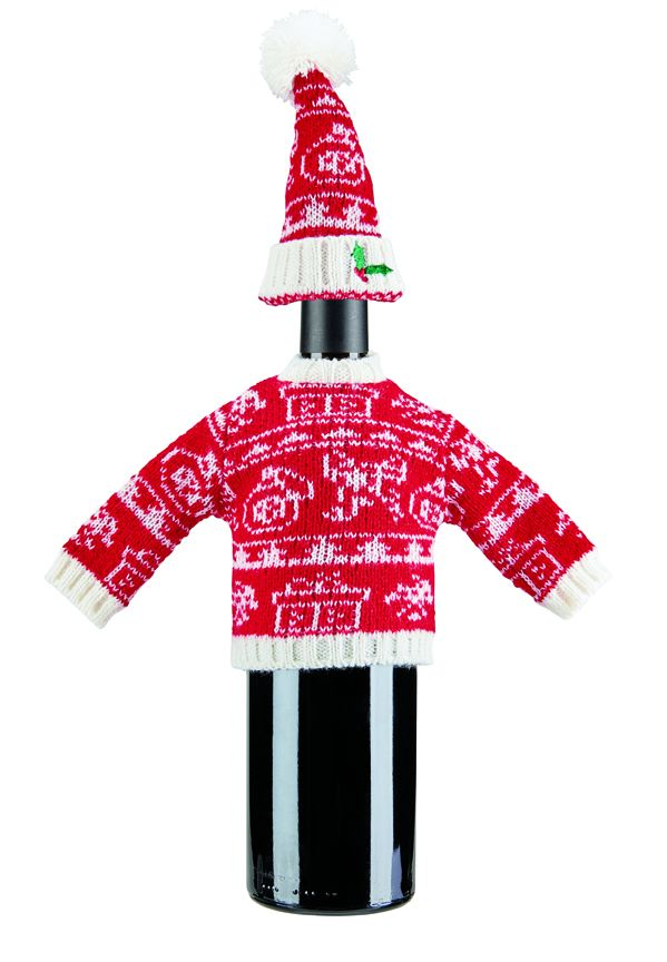 San Diego Hat Company: Fair isle sweater knit holiday wine bottle outfit