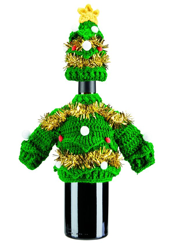San Diego Hat Company: Decorated garland sweater knit holiday wine bottle outfit