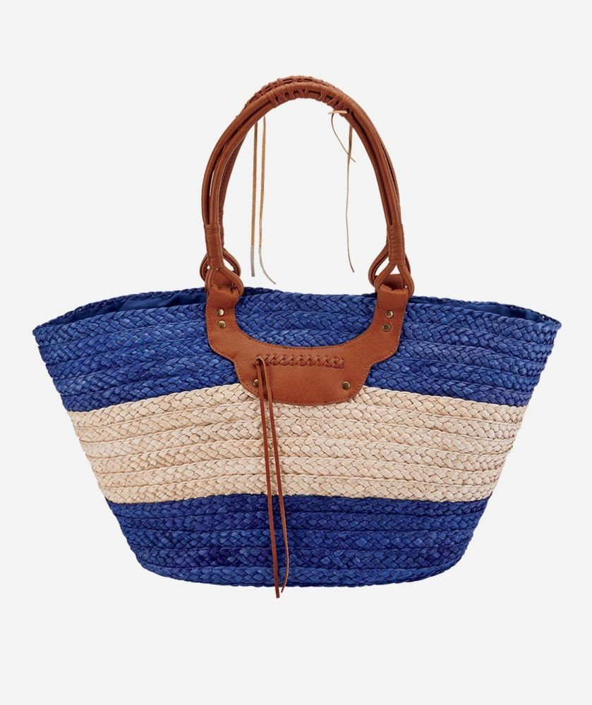 BSB1561- WOMENS PAPERBRAID TOTE  -  BLUE/NATURAL   -  WOMENS O/S
