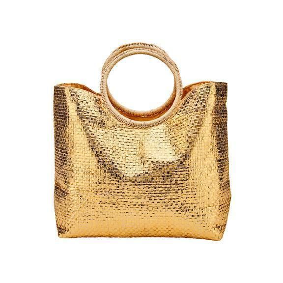 BSB1733- WOMENS WOVEN PAPER WITH GOLD FINISH BAG  -  GOLD  -  WOMENS O/S