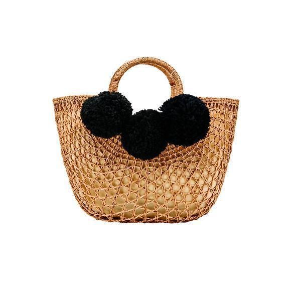 BSB1748- WOMENS OPEN WEAVE RATTAN BAG  -  NATURAL   -  WOMENS O/S