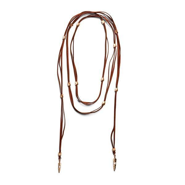 BSJ0015-FAUX SUEDE LARIAT WITH GOLD ARROW DETAILS  -  BROWN   -  WOMENS O/S