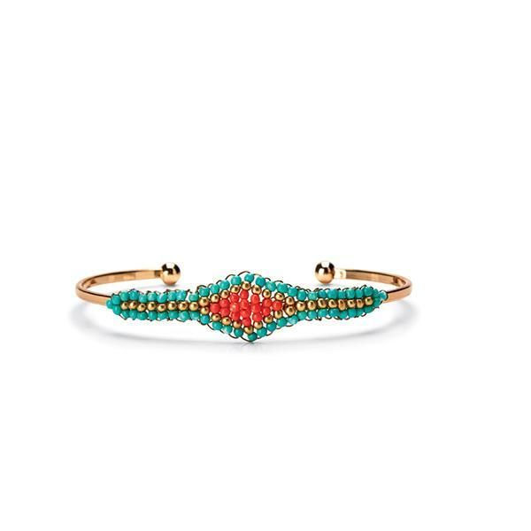 BSJ0007-SKINNY METAL BRACELET WITH TURQUOISE BEADING  -  TURQUOISE   -  WOMENS O/S