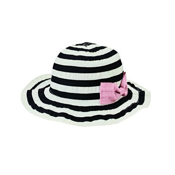 RBK3090 - 2-4 TODDLER RIBBON SUN HAT WITH BOW  -  BLACK/WHITE   -  2-4Y TODDLER
