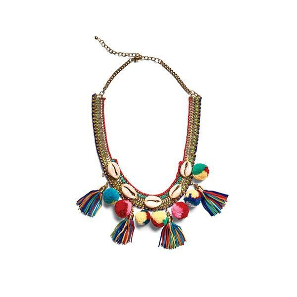 BSJ0016-GOLD CHAIN WITH MULTI POM NECKLACE  -  MULTI   -  WOMENS O/S