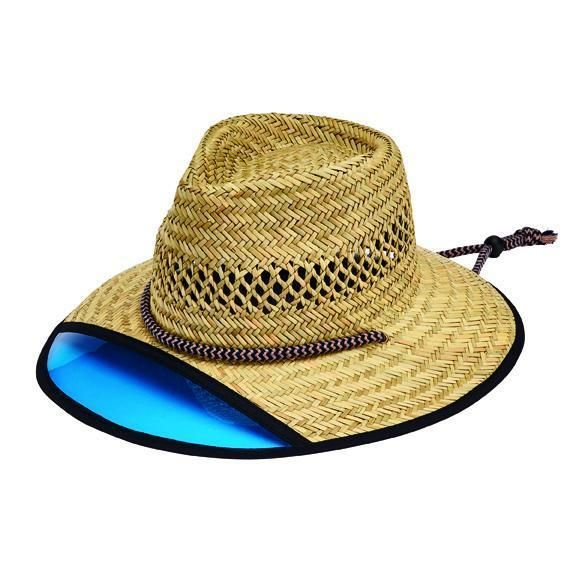RSM585LXNBL  MEN'S RUSH STRAW LIFEGUARD HAT WITH FRONT PLASTIC VISOR AND AD