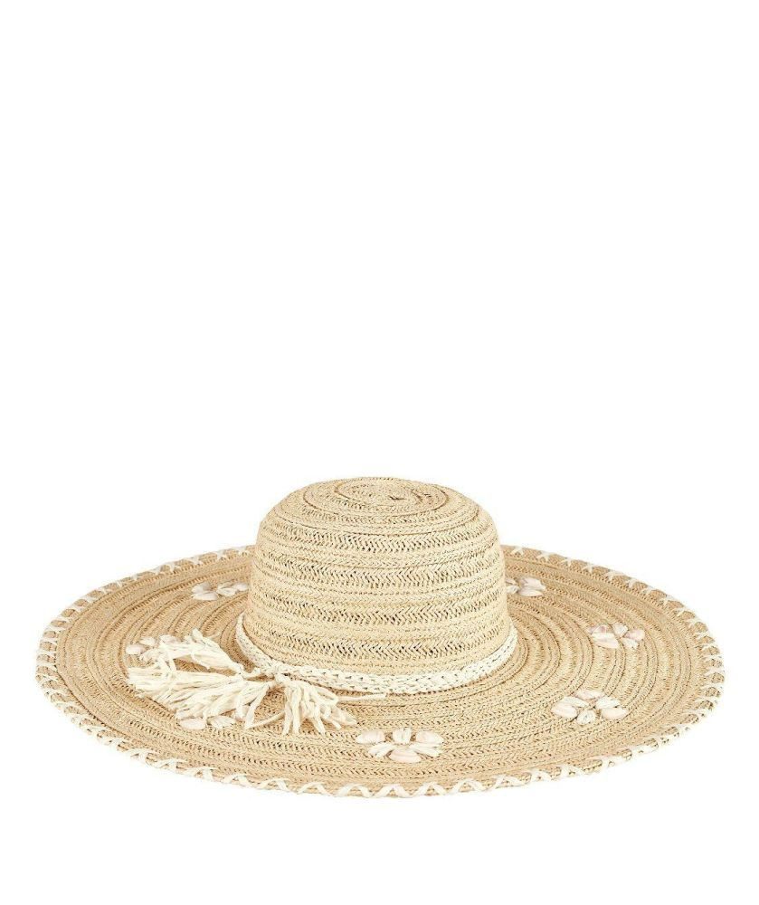 PBL3075- WOMENS PAPERBRAID WITH SHELLS  -  NATURAL   -  WOMENS O/S