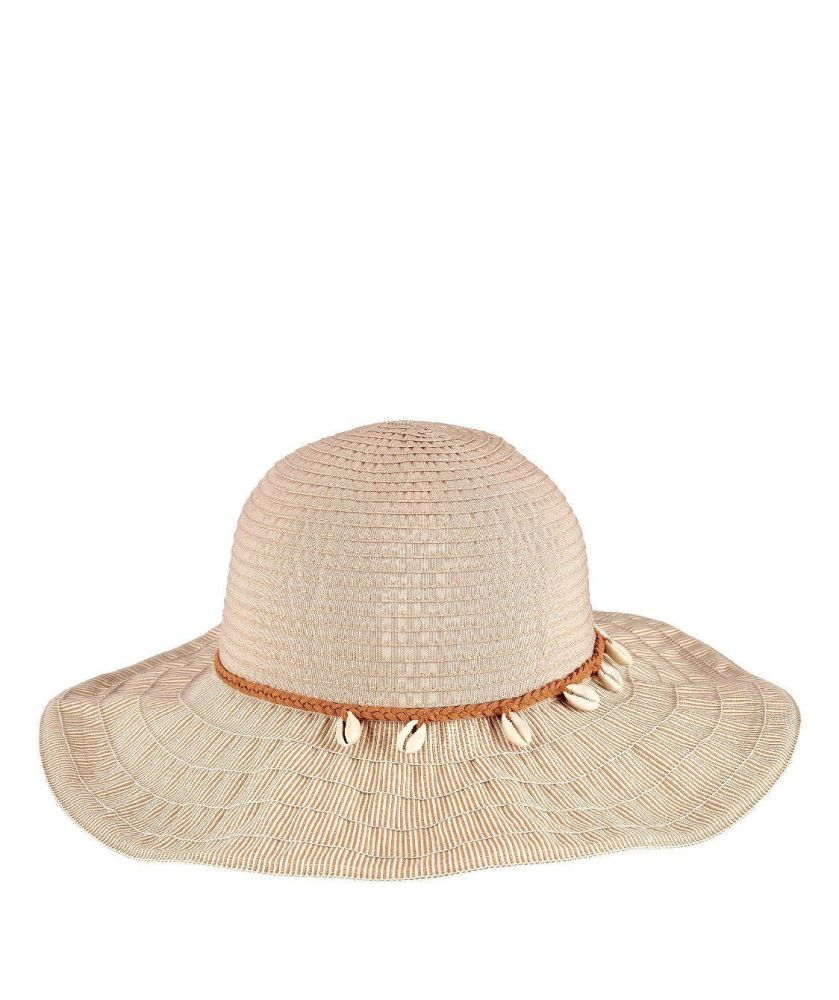 RBL4786- WOMENS RIBBON WITH SHELL TRIM  -  NATURAL   -  WOMENS O/S