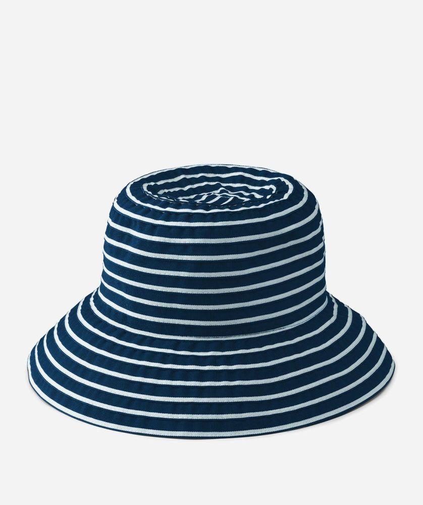 RBS244- Women's Ribbon Braid Small Brim Hat  -  NAVY & WHITE   -  WOMENS O/S