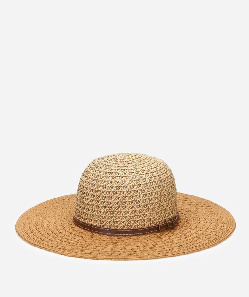 UBL6476-WOMENS SUNBRIM W/FAUX LEATHER BAND  -  CAMEL   -  WOMENS O/S