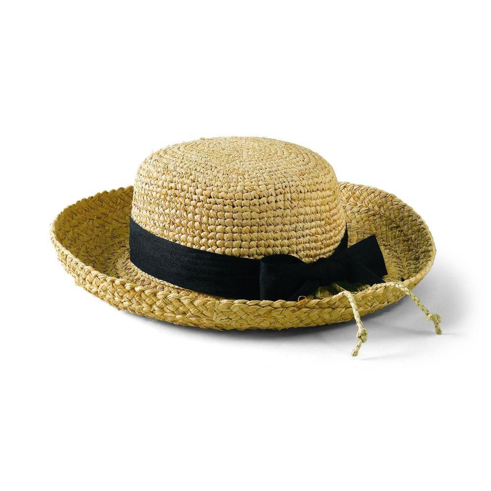 RHL9- Women's Raffia Hat Crochet Crown  -  NAT W/ BLK RIBB   -  WOMENS O/S