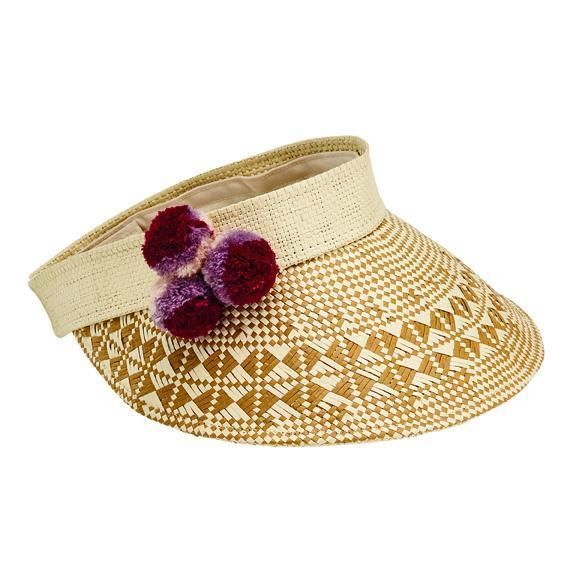 PBV012 - Women's visor with a patterned brim and multi colored pom poms  -  NATURAL   -  WOMENS O/S