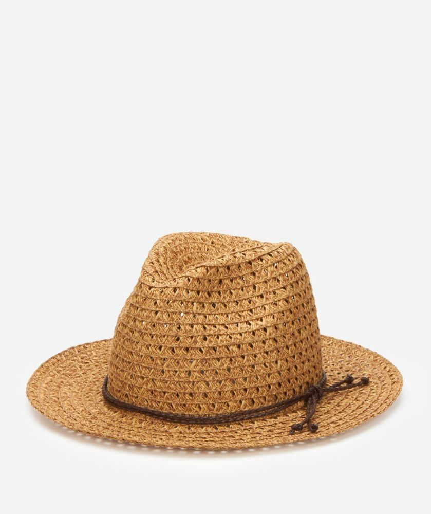 PBF6152OSNAT-WOMENS OPEN WEAVE PANANMA FEDORA W/TRIM  -  NATURAL   -  WOMENS O/S