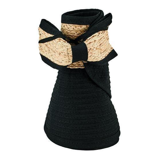 RBV001 - Women's ribbon visor with adjutable raffia bow closure  -  WOMENS O/S