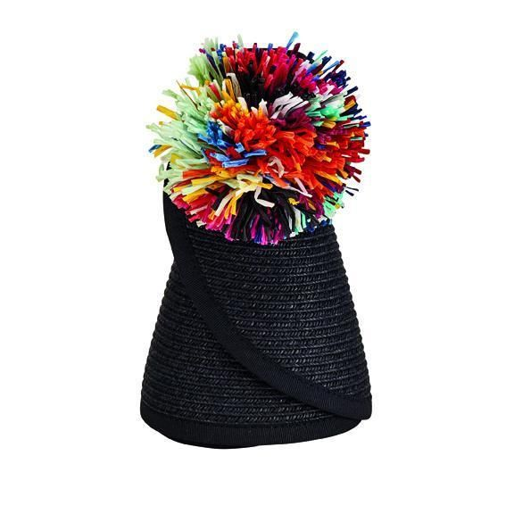 UBV039 - Women's roll up visor with multi color pom pom pin  -  BLACK   -  WOMENS O/S