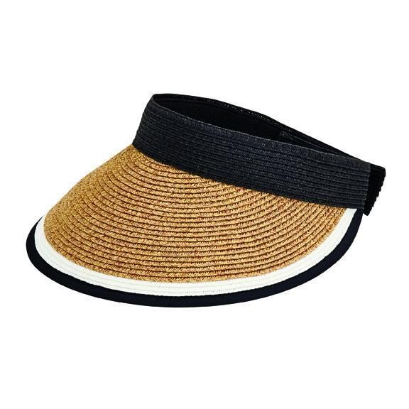 UBV047 - Women's visor with contrast color stripe and adjustable back  -  WOMENS O/S