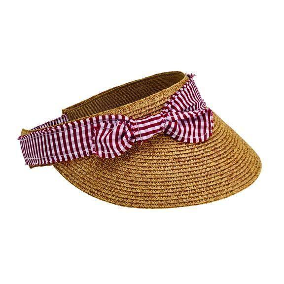 UBV048  - Women's visor with gingham trim bow  -  WOMENS O/S