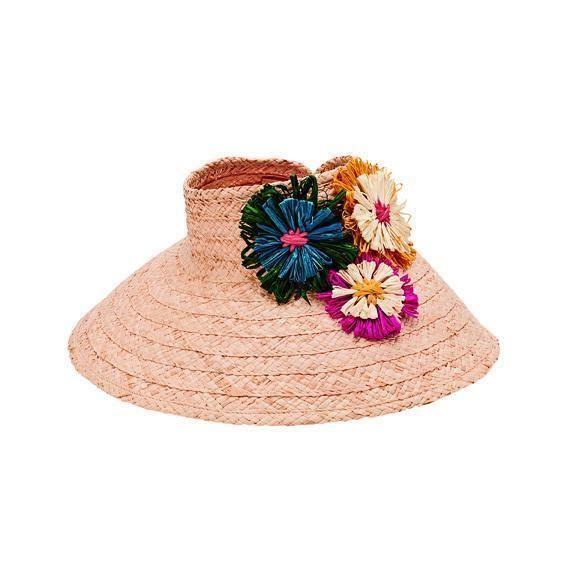 RHV1507-Women's raffia visor with raffia floral detail  -  NATURAL   -  WOMENS O/S