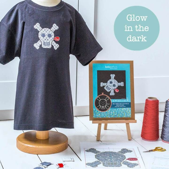 GLOW IN THE DARK SKULL CROSS STITCH KITS - AVAILABLE IN GREY
