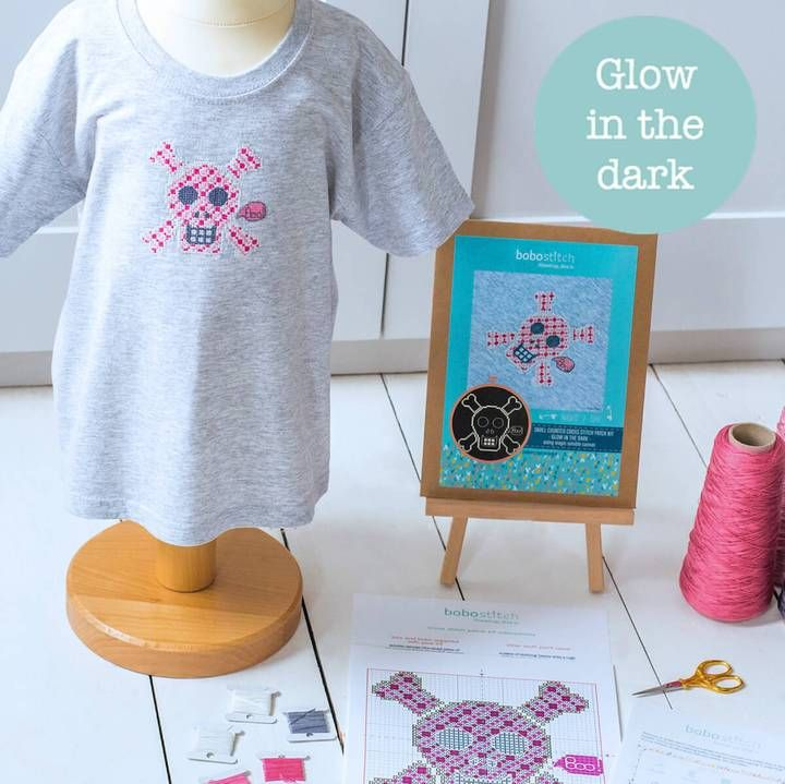 GLOW IN THE DARK SKULL CROSS STITCH KITS - AVAILABLE IN PINK