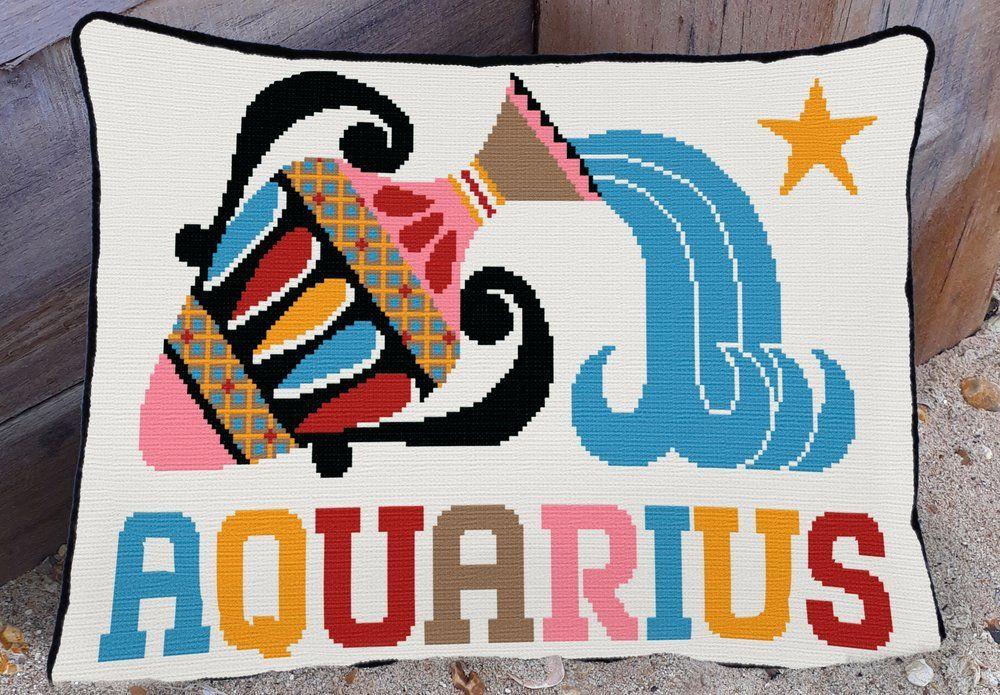 Emily Peacock: Cross Stitch Kits - Zodiac Signs - Aquarius (small)