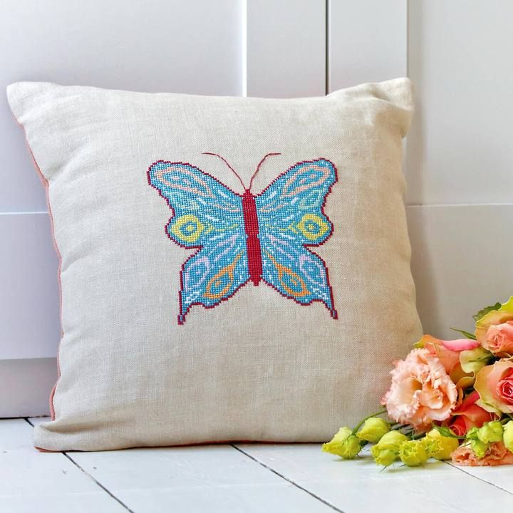 BUTTERFLY CROSS STITCH CUSHION COVER KIT