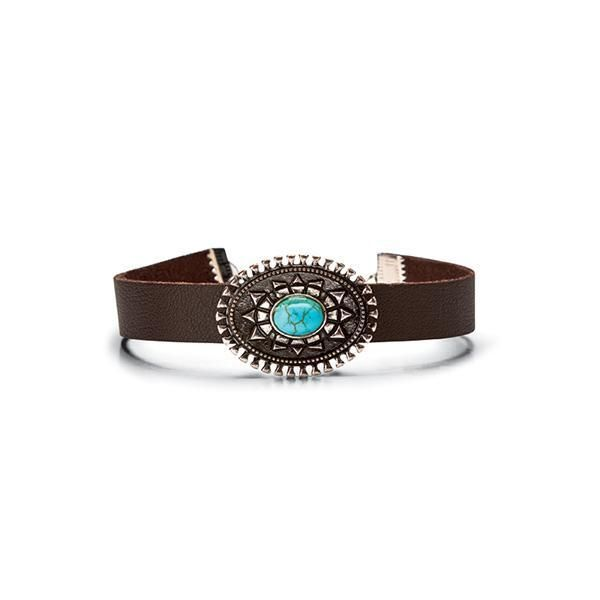 BSJ0004-FAUX LEATHER BAND WITH CONCHO TURQUOISE DETAIL  -  TURQUOISE   -  WOMENS O/S