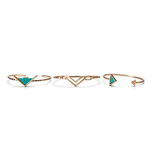BSJ0003-THREE BANGLES WITH TURQUOISE DETAIL  -  TURQUOISE   -  WOMENS O/S