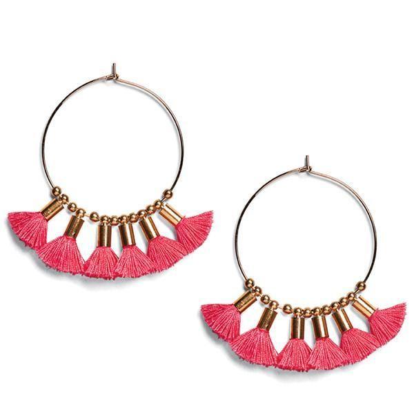 BSJ0012-HOOP FRINGE DROP EARRINGS  -  PINK   -  WOMENS O/S