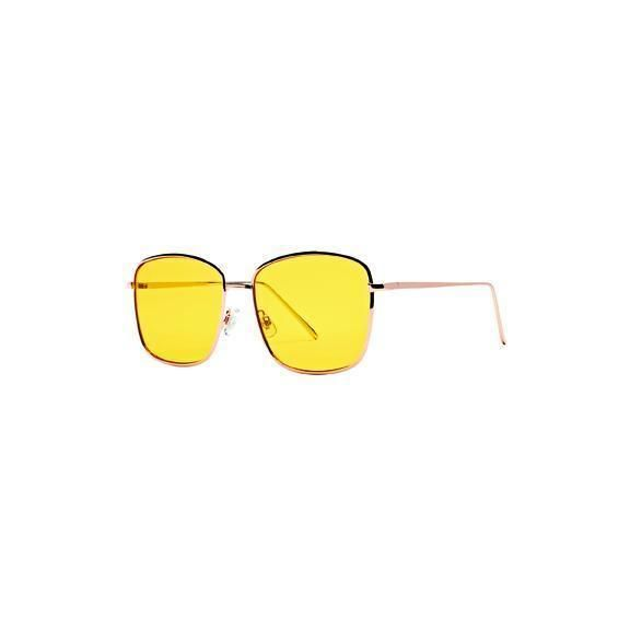 BSG1058 - WOMENS METAL SQUARE FRAME WITH YELLOW TINT  -  GOLD   -  WOMENS O/S