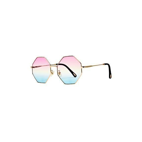 BSG1057 - WOMENS METAL HEXAGON FRAME WITH MULTI COLOR TINT  -  GOLD   -  WOMENS O/S