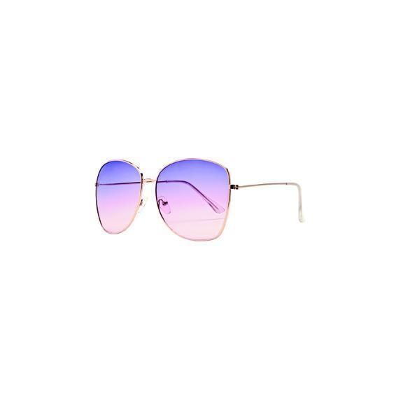 BSG1055 - WOMENS METAL SQUARE FRAME WITH MULTI COLOR TINT  -  GOLD   -  WOMENS O/S