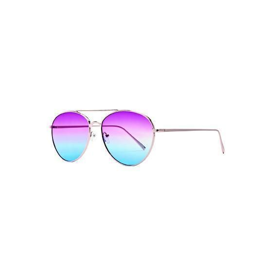 BSG1054 - WOMENS METAL FRAME AVIATORS WITH MULTI COLOR TINT  -  GOLD   -  WOMENS O/S