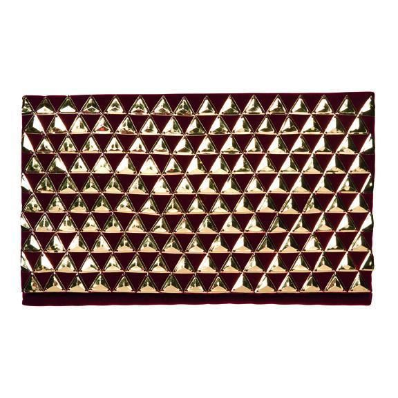 BSB3550-GOLD PYRAMIDS ON RED VELVET CLUTCH WITH HIDDEN GOLD CHAIN  -  RED   -  WOMENS O/S