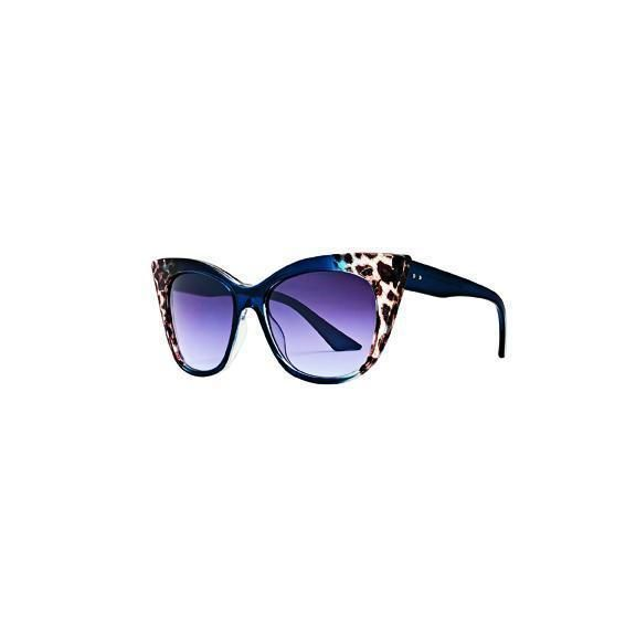 BSG1048 - WOMENS EXTREME CATEYE SUNGLASSES WITH LEOPARD GRADIENT  -  NAVY   -  WOMENS O/S