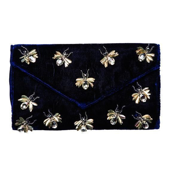 BSB3547-VELVET CLUTCH WITH MULTIPLE BUG DETAILS WITH HIDDEN CHAIN DETAIL  -  NAVY   -  WOMENS O/S
